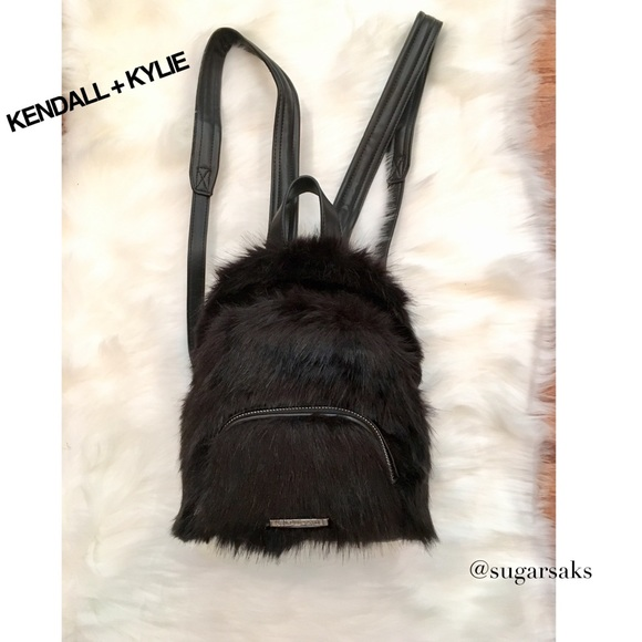 f0badd657d 🆕NWT 🎒KENDALL+KYLIE BLACK FAUX FUR MINI BACKPACK